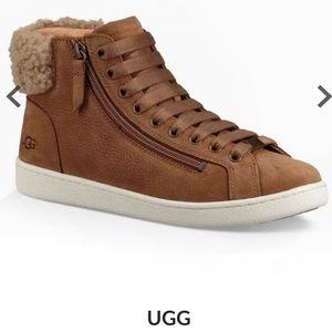 UGG Olive high fur top chestnut suede sneaker 9.5